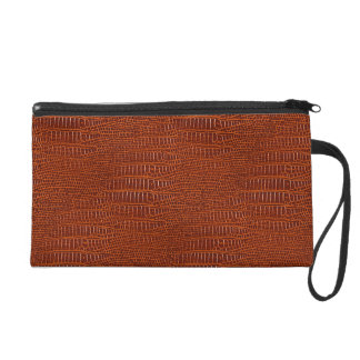 The Look of Brown Realistic Alligator Skin Wristlet Clutch
