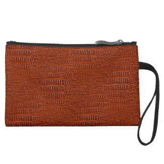 The Look of Brown Realistic Alligator Skin Wristlet Clutches