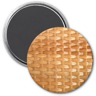 The Look of Lacquer Wicker Basketweave Texture 7.5 Cm Round Magnet