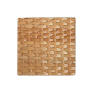 The Look of Lacquer Wicker Basketweave Texture Stone Magnet