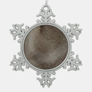 The look of Luxurious Seal Point Siamese Cat Fur Pewter Snowflake Decoration