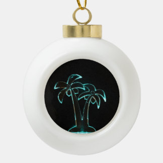 The Look of Neon Lit Up Tropical Palm Trees Ceramic Ball Decoration