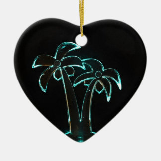The Look of Neon Lit Up Tropical Palm Trees Ceramic Heart Decoration