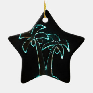 The Look of Neon Lit Up Tropical Palm Trees Ceramic Star Decoration