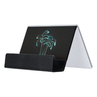 The Look of Neon Lit Up Tropical Palm Trees Desk Business Card Holder
