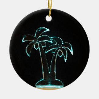The Look of Neon Lit Up Tropical Palm Trees Round Ceramic Decoration