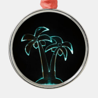 The Look of Neon Lit Up Tropical Palm Trees Silver-Colored Round Decoration