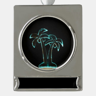The Look of Neon Lit Up Tropical Palm Trees Silver Plated Banner Ornament