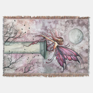 The Lookout Fairy Fantasy Art Throw Blanket