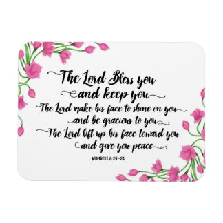 The Lord Bless you and Keep You Magnet w/Flowers