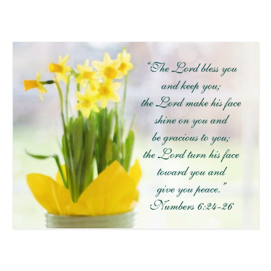 the lord bless you bible verse  daffodils custom postcard