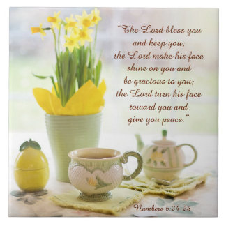The Lord Bless You Bible Verse Tea Party Daffodils Large Square Tile