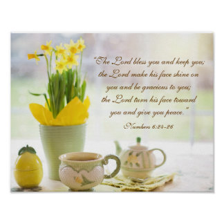 The Lord Bless You Bible Verse Tea Party Daffodils Poster