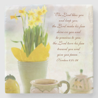 The Lord Bless You Bible Verse Tea Party Daffodils Stone Coaster