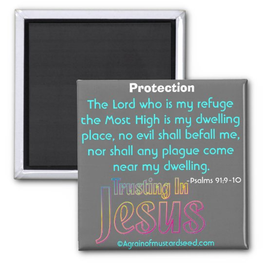 The Lord is my refuge Bible Quotes Square Magnet