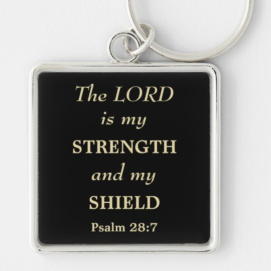 The Lord is My Shield Gold Christian Silver-Colored Square Key Ring