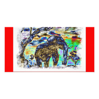 The Lord is my strength Colourful Elephant Photo Cards