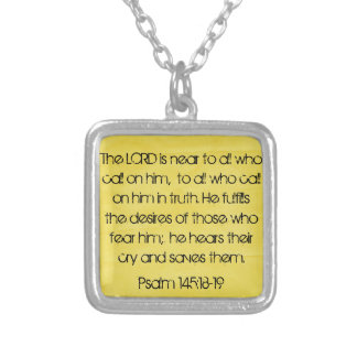 The Lord is near to all Psalm 145:18-19 Square Pendant Necklace