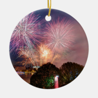 The Lord Mayor's Fireworks, Southbank London Round Ceramic Decoration