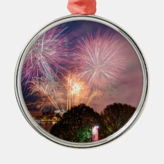 The Lord Mayor's Fireworks, Southbank London Silver-Colored Round Decoration