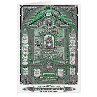 The Lord's Prayer vintage engraving (Green) Cards