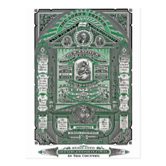 The Lord's Prayer vintage engraving (Green) Postcard