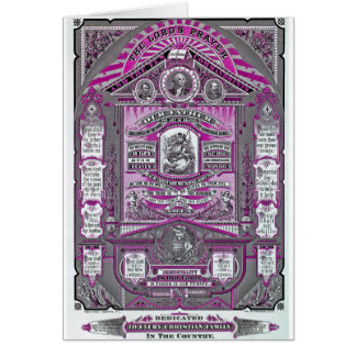 The Lord's Prayer vintage engraving (Pink) Greeting Card