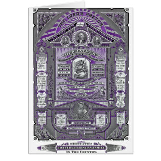 The Lord's Prayer vintage engraving (Purple) Greeting Cards