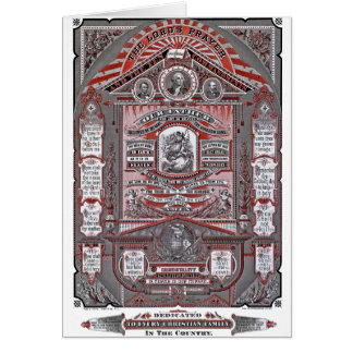 The Lord's Prayer vintage engraving (Red) Greeting Cards