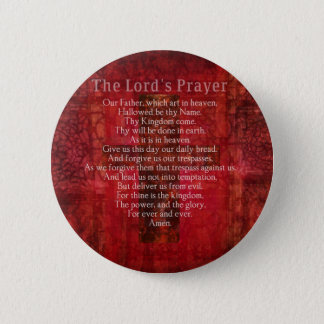 The Lord's Prayer Words traditional 6 Cm Round Badge