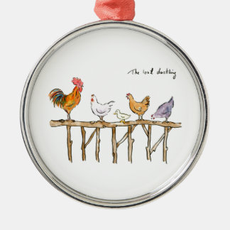 The lost duckling, chickens and duckling christmas ornament