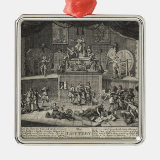 The Lottery by William Hogarth Silver-Colored Square Decoration