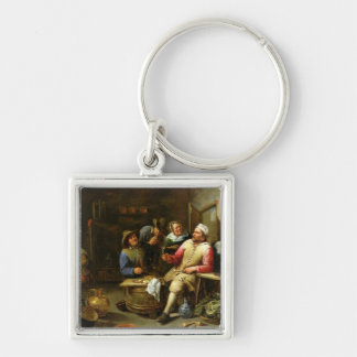 The Lounge Bar, 1657 Silver-Colored Square Key Ring