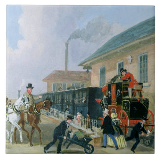 The Louth-London Royal Mail Travelling by Train fr Large Square Tile