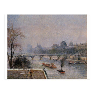 The Louvre, Morning, Snow Effect Camille Pissarro Postcard