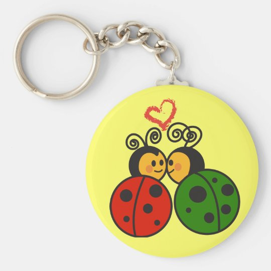 The love bugs basic round button key ring