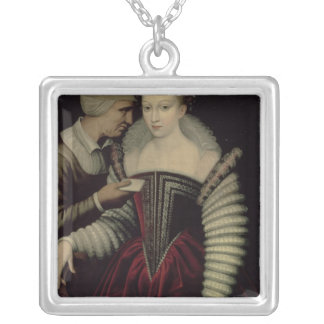 The Love Letter, a Lady with her Maid Silver Plated Necklace