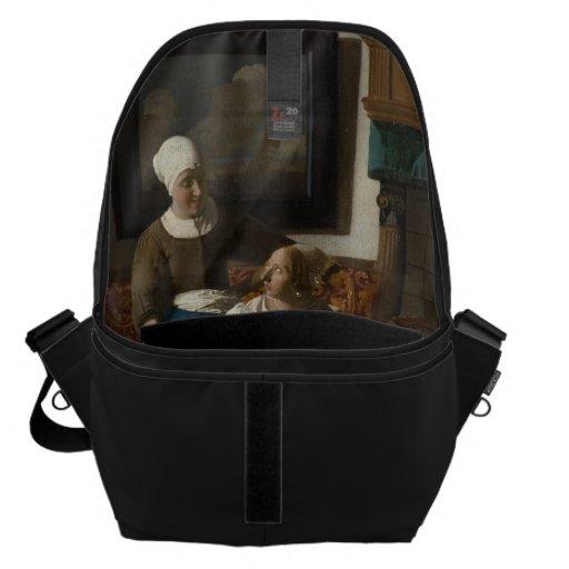 The Love Letter by Johannes Vermeer Messenger Bags