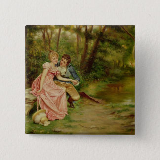 The Lovers (oil on canvas) 15 Cm Square Badge