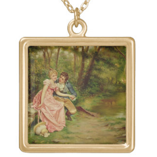 The Lovers (oil on canvas) Gold Plated Necklace