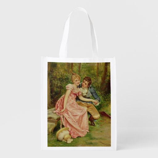 The Lovers (oil on canvas) Grocery Bags