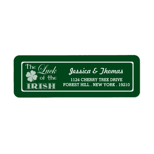 The Luck Of The Irish St. Patrick's Day Return Address Label