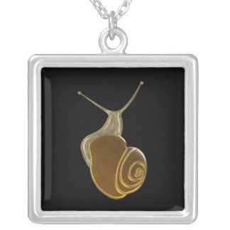 The Lucky Snail Brown eXi Square Pendant Necklace