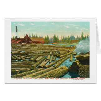 The Lumber Mill and Dam, River filled with Cards
