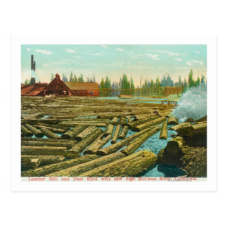 The Lumber Mill and Dam, River filled with Postcard