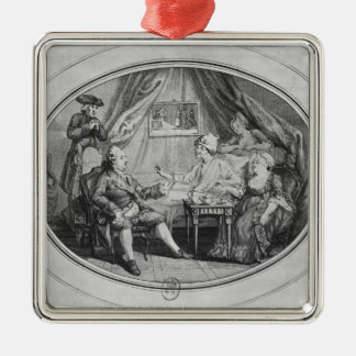 The Luncheon at Ferney, 4th July 1775 Silver-Colored Square Decoration