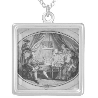 The Luncheon at Ferney, 4th July 1775 Silver Plated Necklace