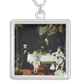The Luncheon in the Conservatory, 1877 Silver Plated Necklace