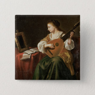 The Lute Player (oil on panel) 15 Cm Square Badge