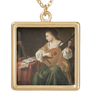 The Lute Player oil on panel Custom Necklace